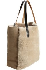 Marni Shearling Tall Hobo in Beige (gold) - Lyst