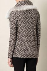Missoni Geometric Woven Furcollar Cardigan in Gray (pink) - Lyst