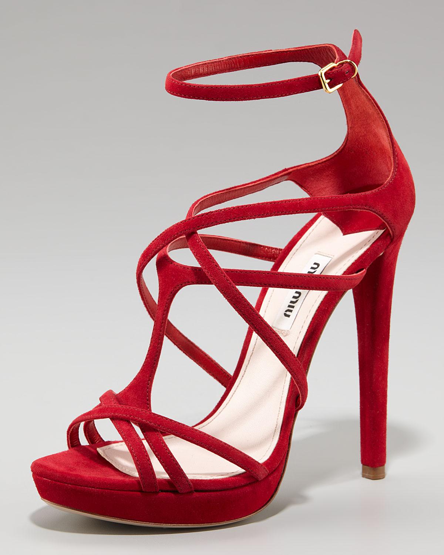 e33f2d8dd9c Lyst - Miu Miu Crisscross Strappy Anklewrap Sandal in Red