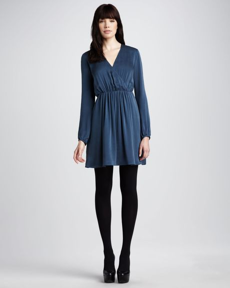 Theory Silk Dress in Blue (deep prussian) - Lyst