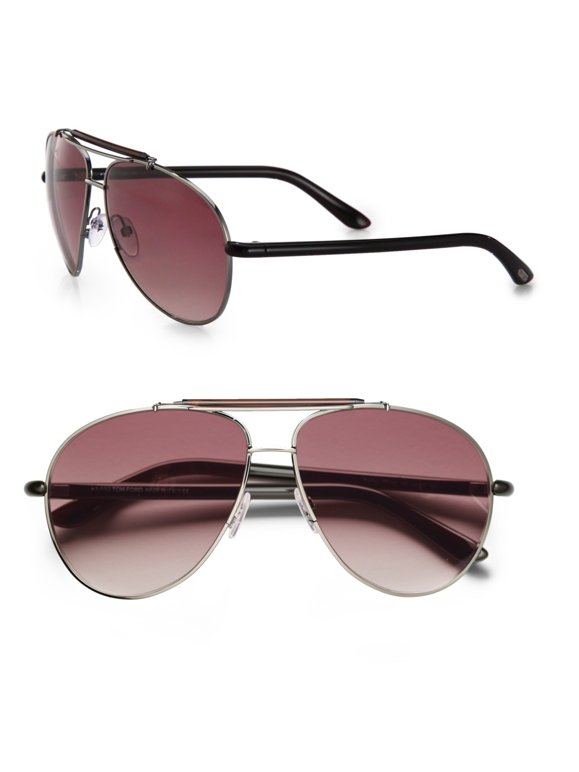 169cba4eed3a8 Tom Ford Bradley Metal Aviator Sunglasses in Black