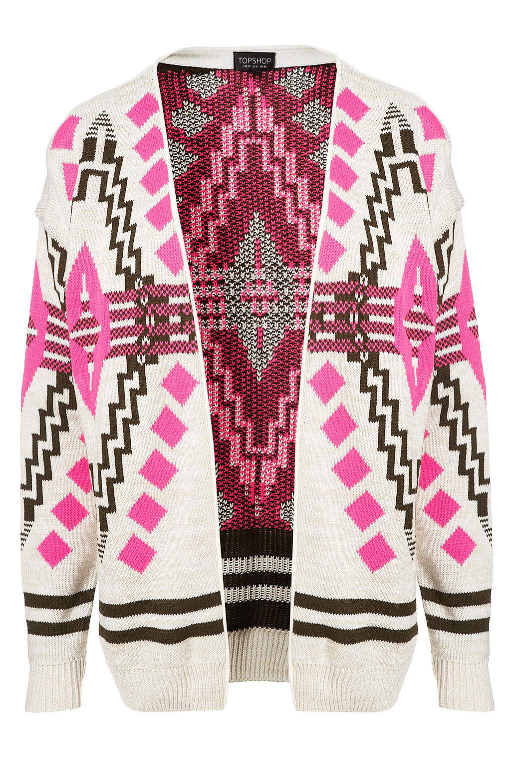 Topshop Knitted Aztec Festival Cardi in Pink Lyst