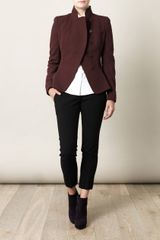 Alexander Mcqueen Asymmetrical Wrap Over Jacket in Red (burgundy) - Lyst
