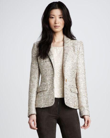 Alice Olivia Elyse Metallic Tweed Blazer In Beige Cream