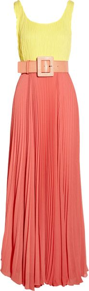 Alice + Olivia Leila Belted Colorblock Crepe Maxi Dress in Yellow - Lyst