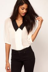 Asos Collection Asos Blouse with Pintucks and Contrast Collar in White (cream) - Lyst