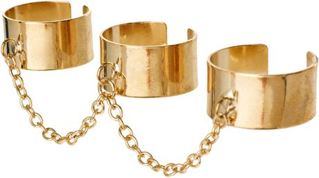 Asos Adjustable Pack Of Three Linked Chain Rings in Gold
