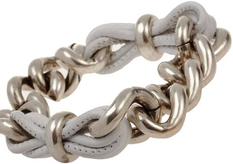 Balenciaga Lace Chain Leather Bracelet in Silver (argent) - Lyst