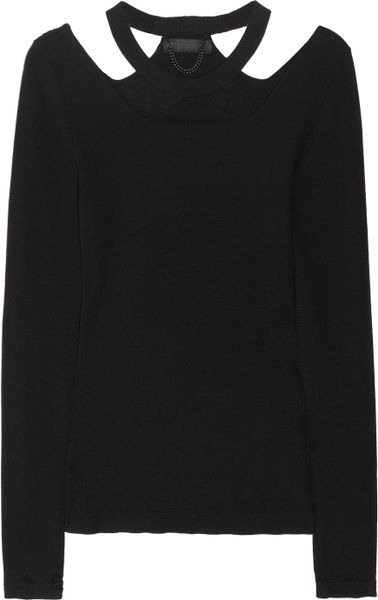 Burberry Prorsum Cutout Wool and Cashmere Blend Sweater in Black - Lyst