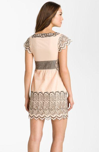 Catherine Malandrino Eyelet Peasant Dress In Beige Peach