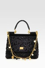 Dolce & Gabbana Mini Miss Sicily Floral Lace Sequins Satchel in Black - Lyst