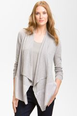 Eileen Fisher Mixed Media Cardigan - Lyst
