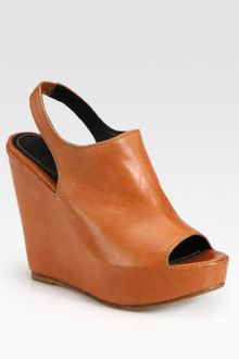 Elizabeth And James Leather Slingback Wedge Platform Sandals - Lyst