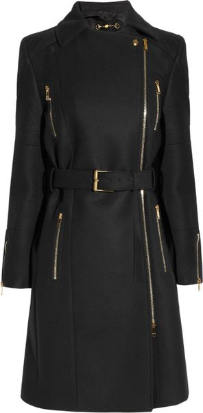 Gucci Belted Wool Felt Coat in Black - Lyst