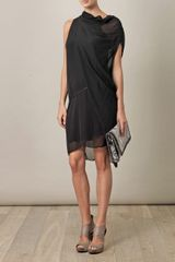 Helmut Lang Pebble Silk Drape Dress in Black - Lyst