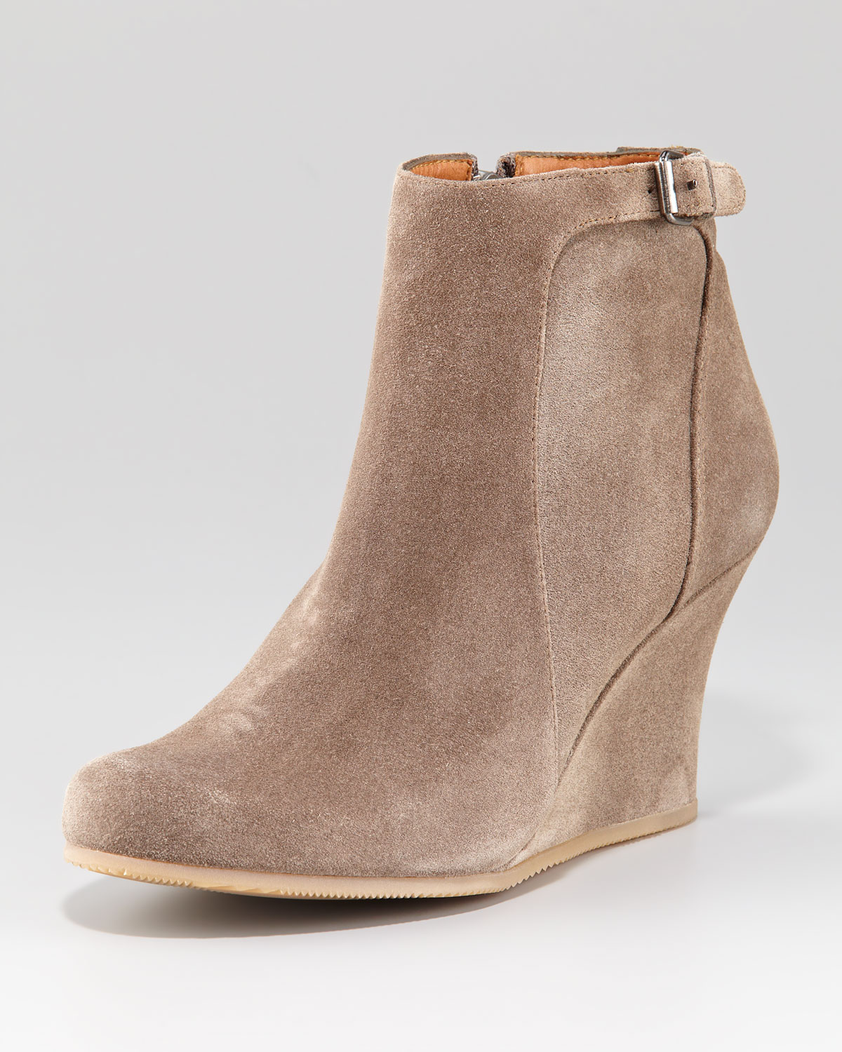 lanvin suede wedge ankle boot in lyst