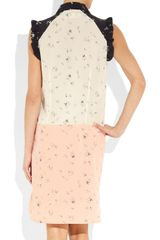 Marni People Print Silk Crepe And Cotton Dress in Pink (black) - Lyst