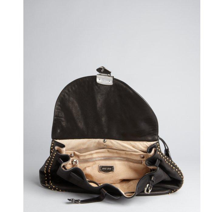 8344902587a7 miu miu online store - Miu miu Black Leather Studded Flap Convertible Shoulder  Bag in .