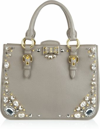 Miu Miu Crystal Embellished Studded Leather Tote - Lyst