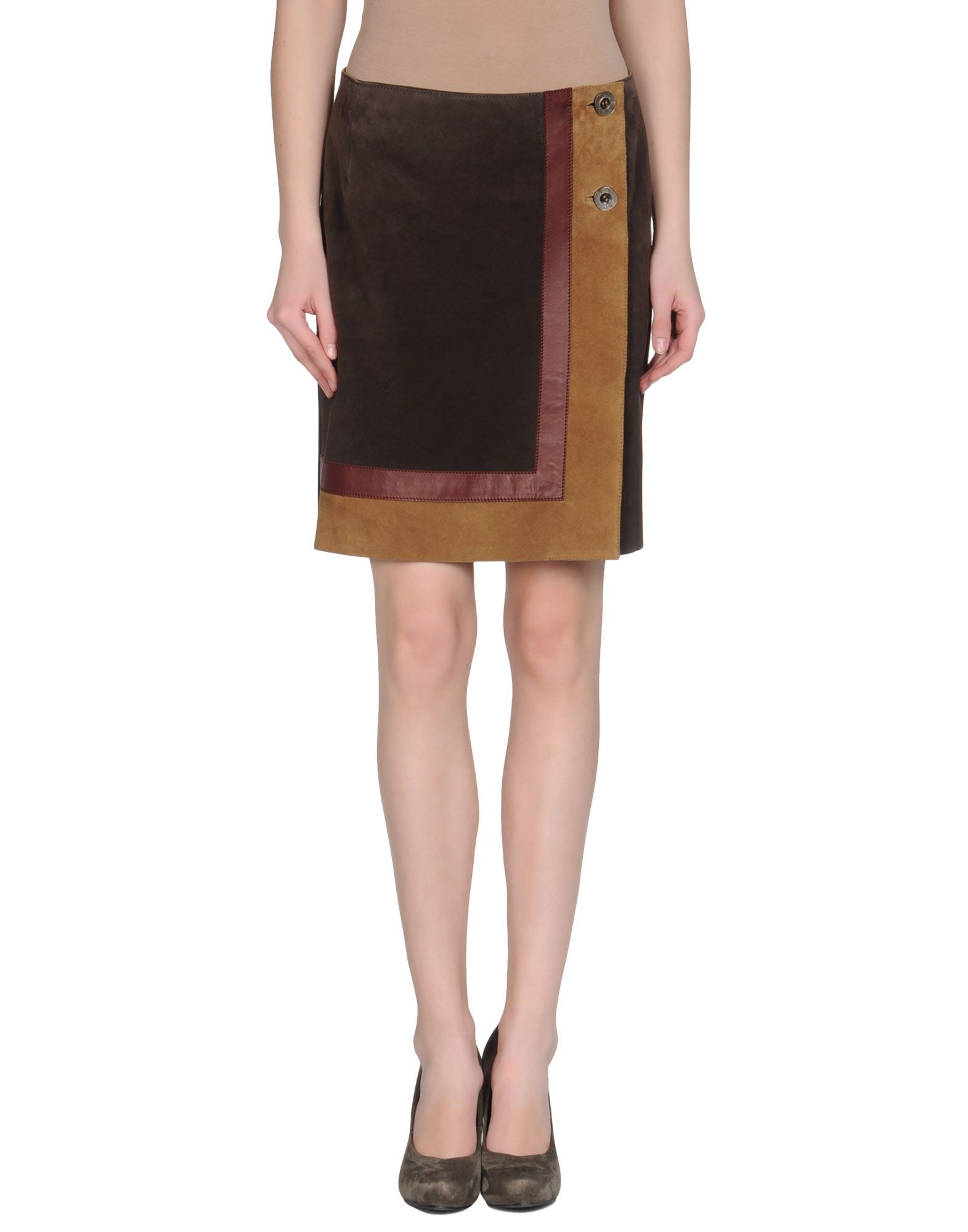 msp leather skirt in brown moka save 30 lyst