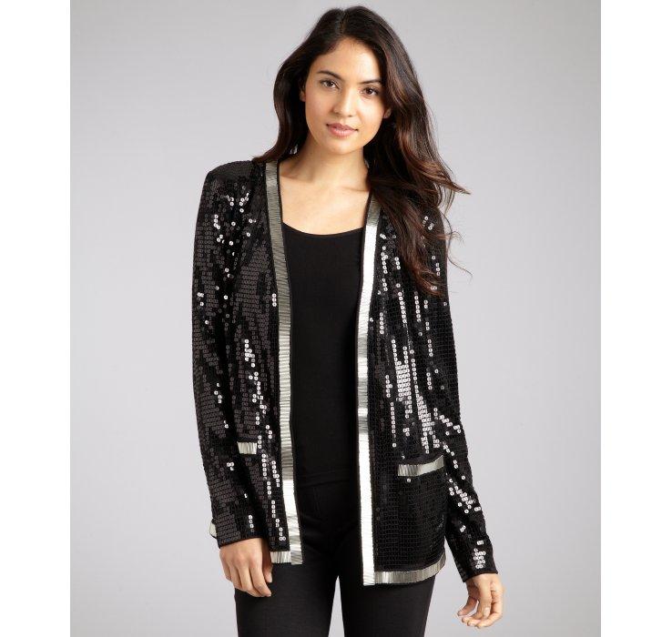 Rachel zoe Black Bead and Sequin Embellished Cardigan in Black | Lyst
