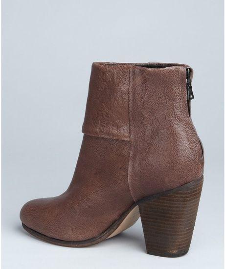rag bone brown leather newbury stacked heel ankle boots