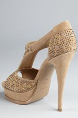 Yves Saint Laurent Khaki Studded Suede Tribute R 105 Platform Sandals in Khaki - Lyst