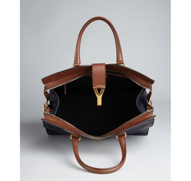 Saint laurent Navy and Brown Leather Cabas Chyc Colorblock Tote in ...