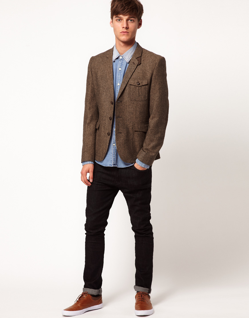 Asos Asos Slim Fit Tweed Blazer in Brown for Men | Lyst