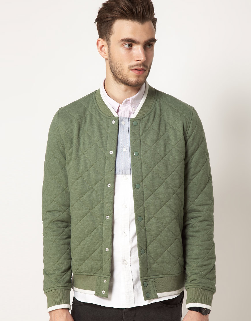 Lyst Asos Asos Varsity Jacket In Quilted Fabric In Green For Men