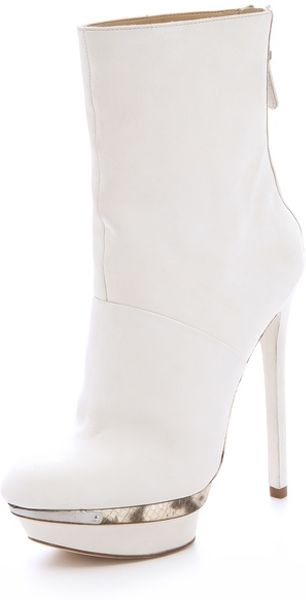 B Brian Atwood Fuveau Platform Booties in White