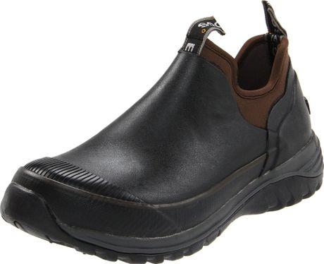 bogs mens journey rubber slip on in black for lyst