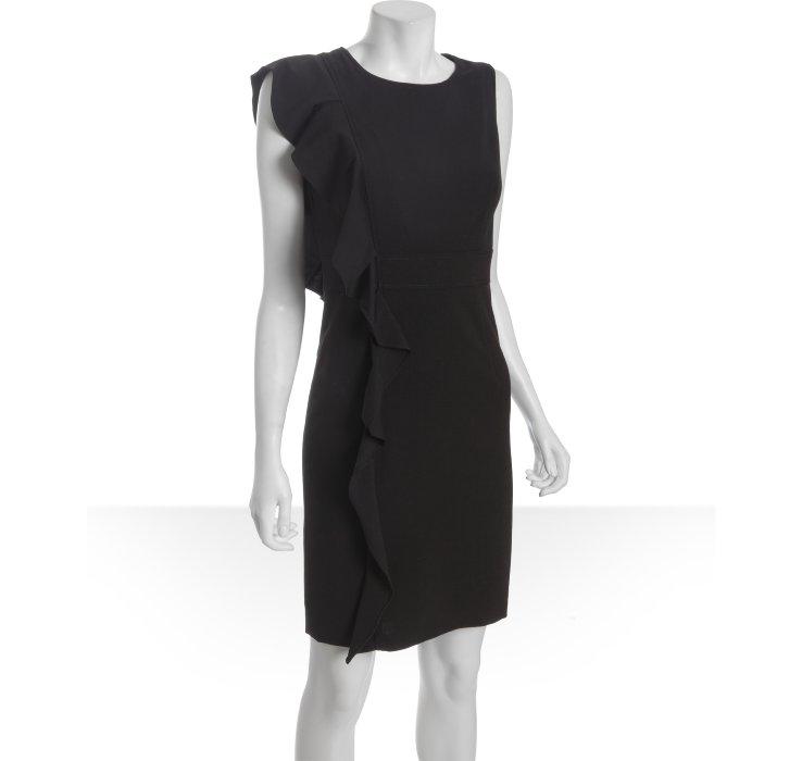 Calvin Klein Black Knit Ruffle Side Sleeveless Dress In