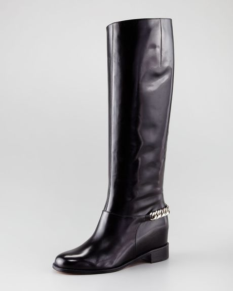 Christian Louboutin Cate Chaindetailed Tall Boot in Black (black silver) - Lyst