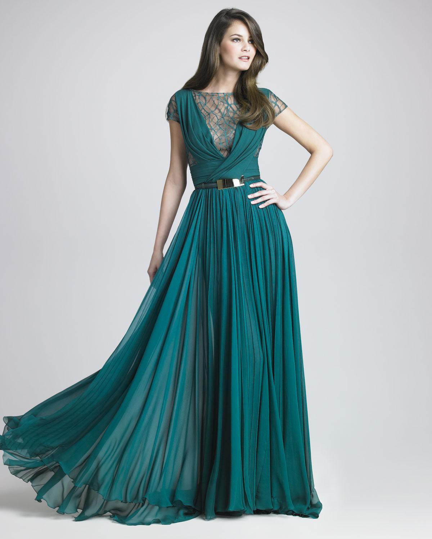 Lyst - Elie Saab Lattice Chiffon Gown in Blue