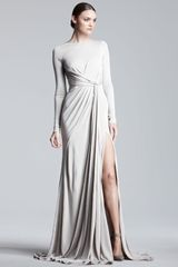 Elie Saab Long Sleeve Jersey Gown - Lyst