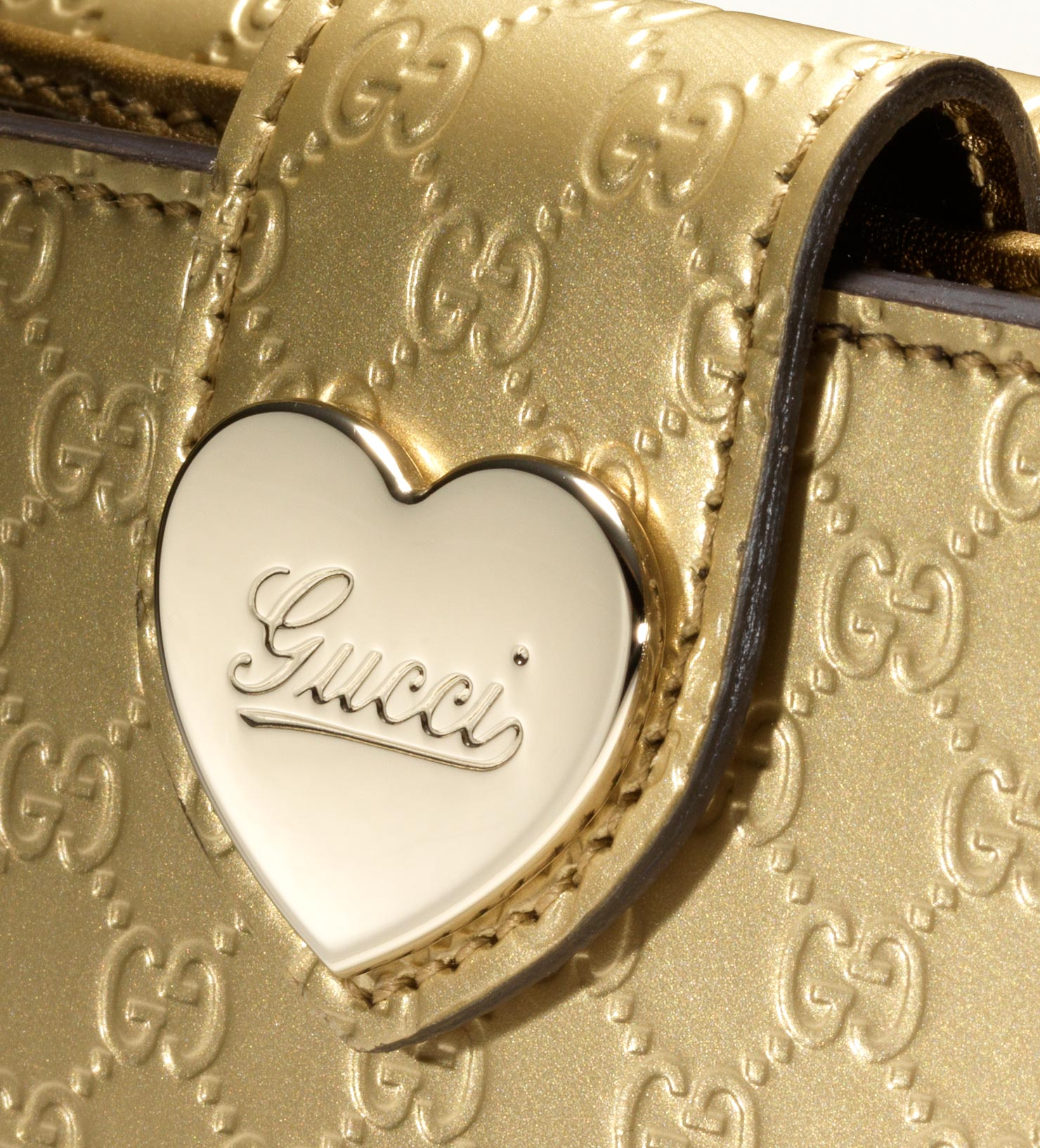 ef4d5fd65c34 Gucci Heart Flap French Wallet in Metallic - Lyst