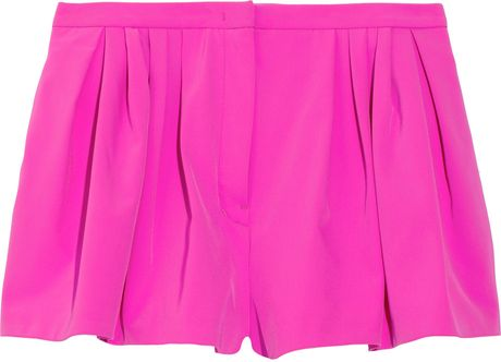 Jil Sander Pleated Stretch Twill Shorts in Pink (fuchsia)