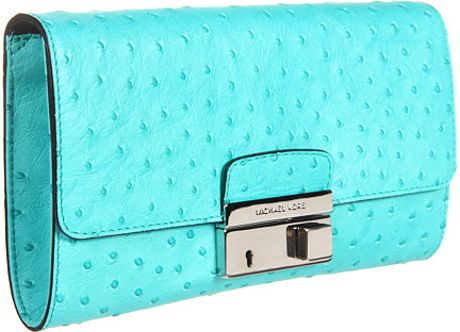 Michael Kors Gia Clutch with Lock in Blue (t) - Lyst