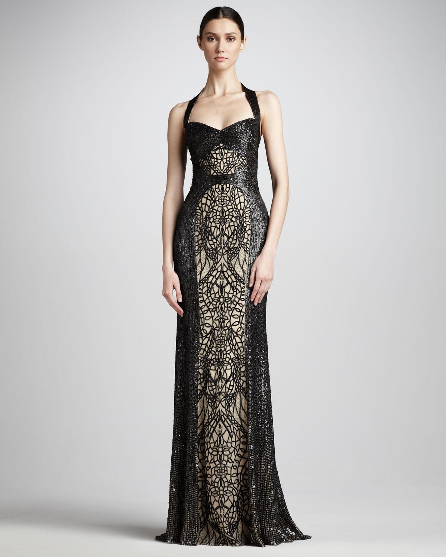 Lyst Monique Lhuillier Sequinlace Halter Gown In Black