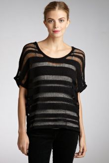 Rag & Bone Black Cotton Blend Open Knit Short Sleeve Top - Lyst
