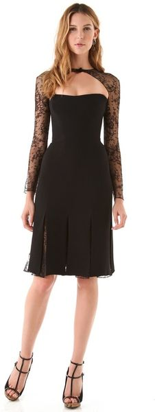 Reem Acra Long Sleeve Lace Cocktail Dress in Black (jet) - Lyst