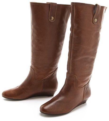 steven inspirre flat boots in brown cognac lyst