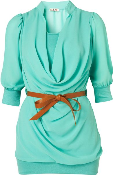 Topshop Belted Sheer Top  in Blue (aqua) - Lyst