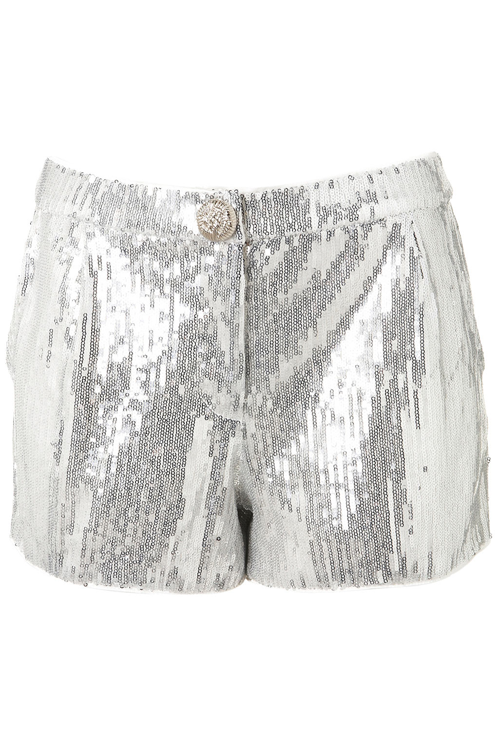Topshop Sequin Shorts in Silver | Lyst