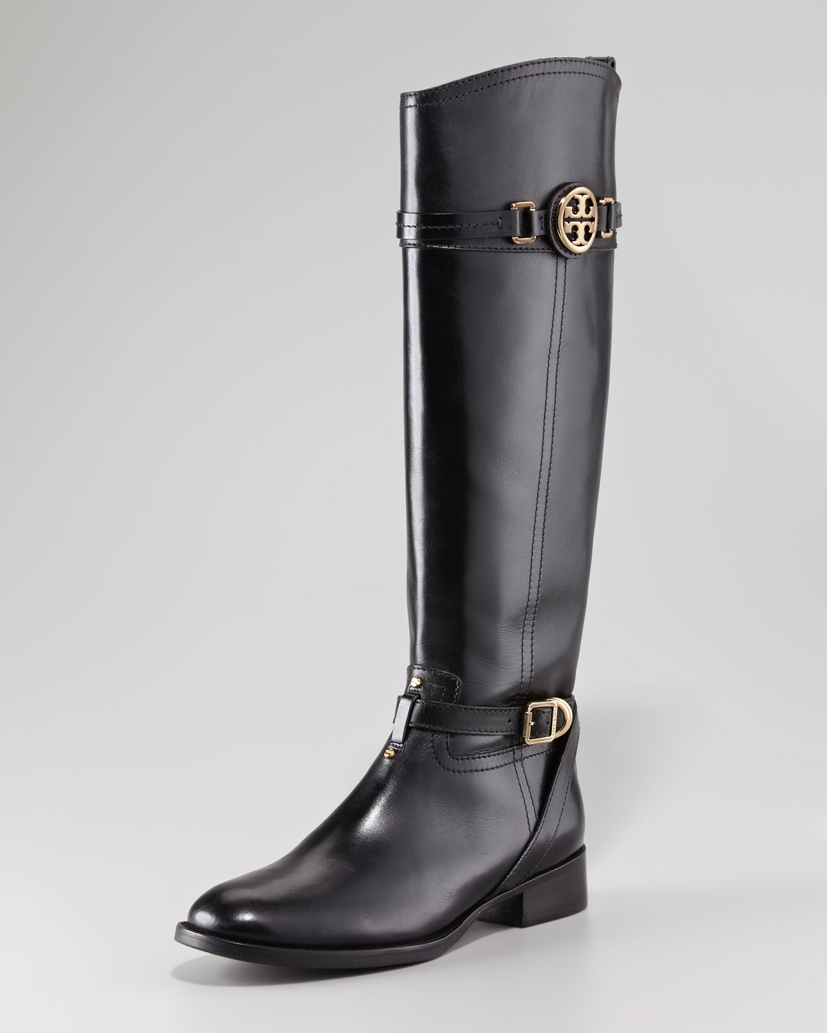 Tory burch Calista Logo Leather Riding Boot Black in Black | Lyst