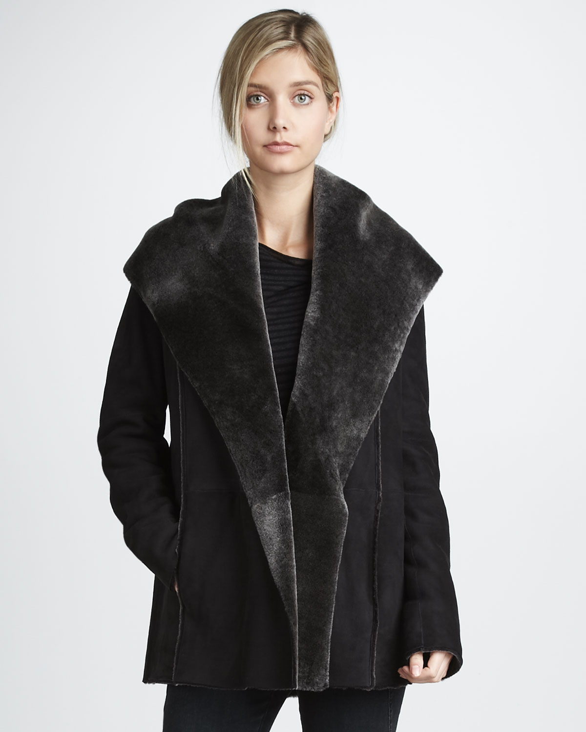 Vince Hooded Coat with Shearling Lining in Gray | Lyst