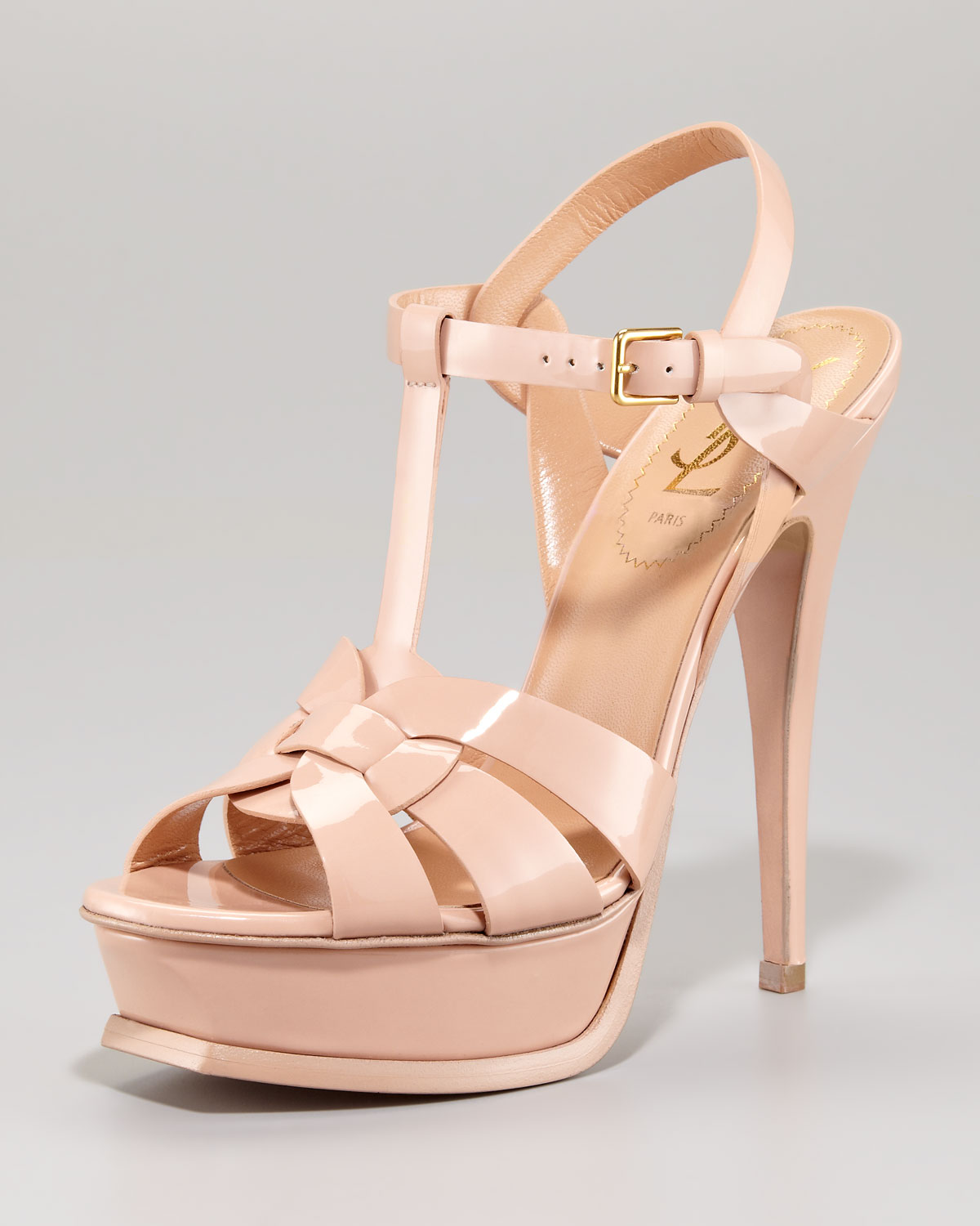 11e035038f1 Saint Laurent Patent Leather Tribute Sandal in Natural - Lyst