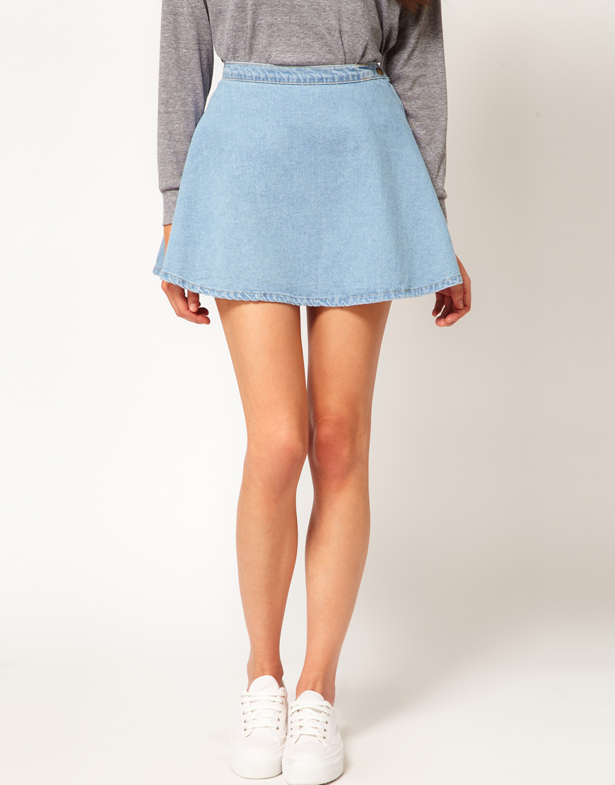 American apparel Denim Circle Skirt in Blue | Lyst
