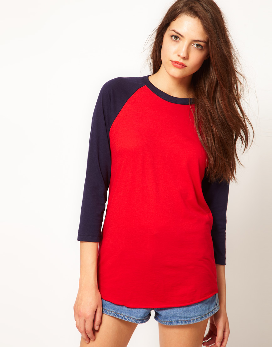 American Apparel Baseball T Shirt In Blue Lyst